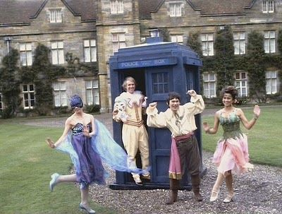 Nyssa, Fifth Doctor, Adric and Tegan all in fancy dress in Black Orchid - they all should have kept these costumes for at least a season!