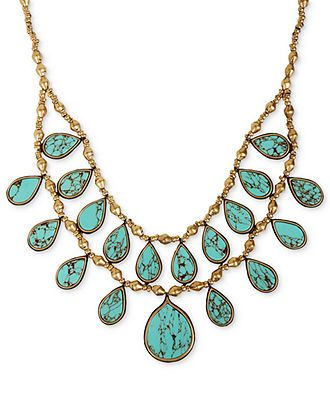 Lucky brand necklace gold tone turquoise two row collar for Macy s lucky brand jewelry