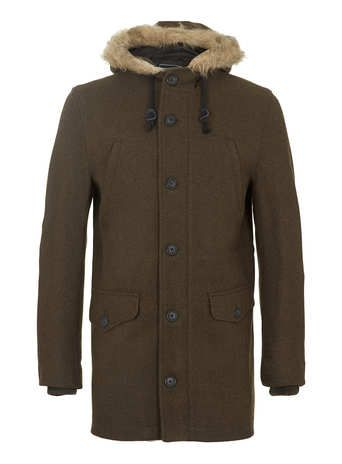 KHAKI WOOL HOODED PARKA coat- this one is cool- fabric is perfect for you. may be a little longer, though.