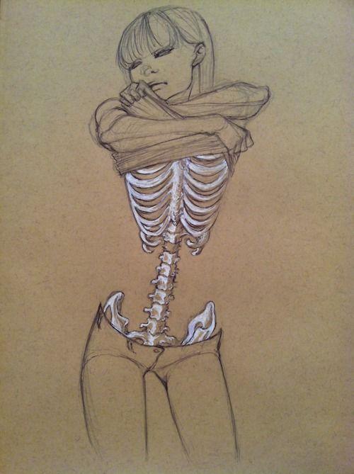 Looks like a girl at work, she thinks skin and bone is beautiful...Barf...