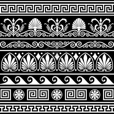 Set of antique greek borders on black