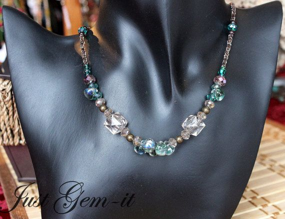 Women's elegant blue accent necklace by Justgemit on Etsy, $24.00