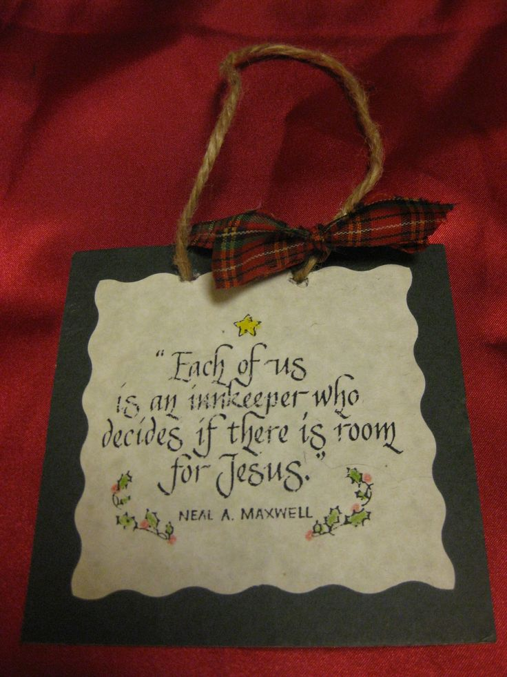 """""""This is an easy religious Christmas ornament craft you can make.    You can use this as an ornament, a door hanger, or a package topper.  You can make it any size, but the one above is 4""""x4""""  Materials:  Mat board (the kind you frame pictures with ) in your color choice  Quote printed out from your computer  Glue  Jute/twine/ribbon"""