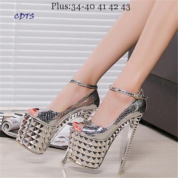Crossdresser Più: 34-39 Sandali Estivi 19/20 cm sottili tacchi alti Scarpe Femminili Oro/Nastro Donne della piattaforma Open Toe partito(China (Mainland))