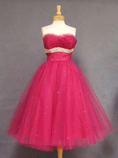 Cerise Tulle 1950s Prom Dress w/ Lace & Rhinestones