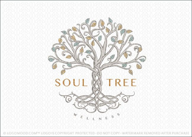 Logo Sold: Celtic tree logo created with intricate looping branches are designed to look like they're knotted together creating a celtic style design pattern in the tree trunk and the tree roots.