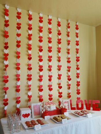 valentine baby shower dessert table and decorations  http://www.creative-baby-shower-ideas.com/valentine-baby-shower.html