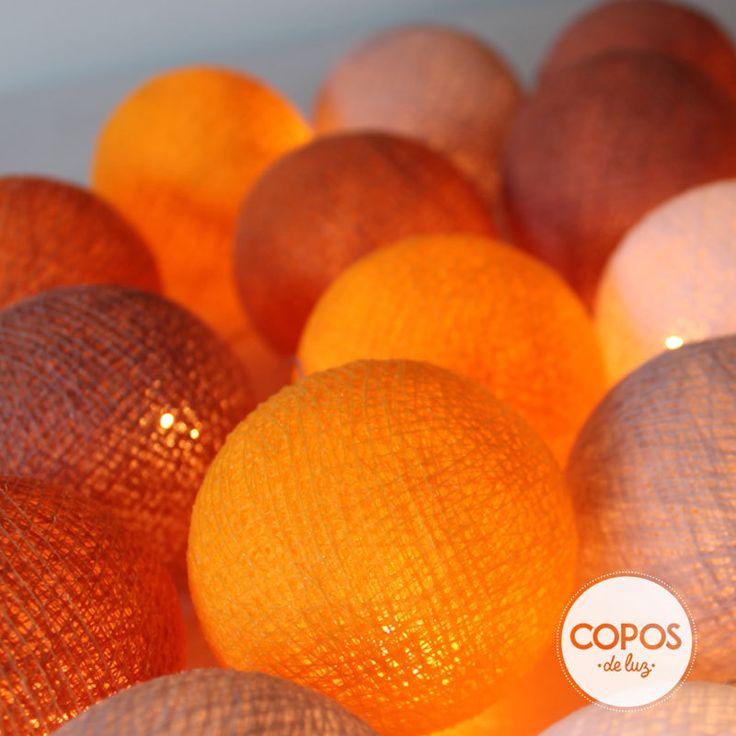 Guirnalda capadocia bolas de hilo y luz artesanales - Bolas de hilo ...