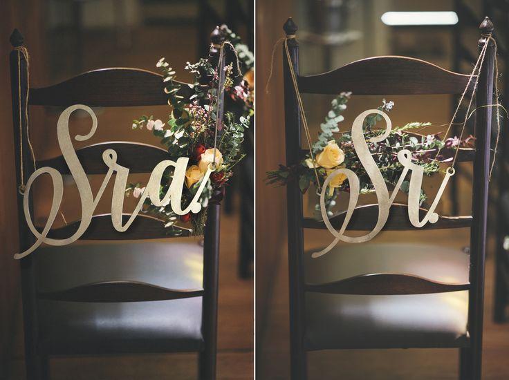 placa de cadeira noivos Sr&Sra