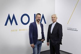 Volkswagen's new brand Moia will take on sharing economy in 2017     - Roadshow  Enlarge Image  You just launched a new brand. Couldnt you uh look a bit happier? Photo by                                            Volkswagen                                          At this years Paris Motor Show Volkswagen said it would introduce a brand dedicated to mobility services but it didnt have a name. Now it does and that name is Moia.  In the future not everyone will have their own car so we want…