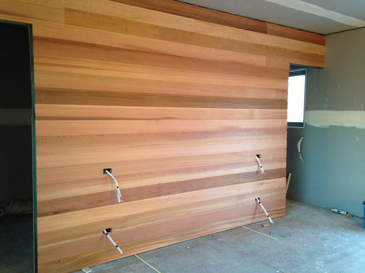 Cedar feature bedroom wall