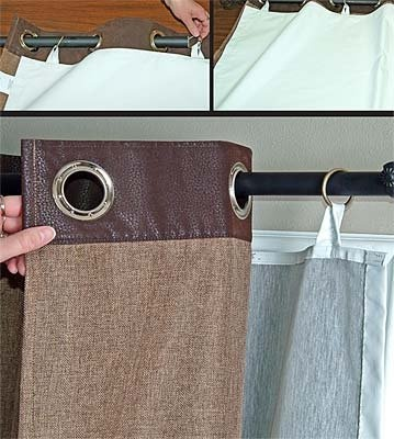 Great DIY way to use blackout/insulated fabric with pre-made curtains without attaching to the pre-made curtain. Orvis Insulated Blackout Liner