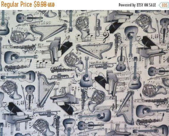 Gris & noir vente Instrument de musique verte Ivoire imprimé pur coton--par la Cour