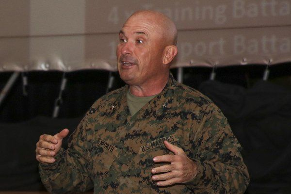 Brig. Gen. Austin E. Renforth, commanding general of Eastern Recruiting Region, Marine Corps Recruit Depot Parris Island, addresses an educators' workshop March 8, 2017. Lance Cpl. Jack A.E. Rigsby/Marine Corps