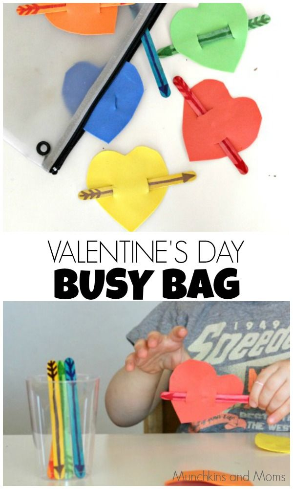 Valentine's Day Busy Bag - this makes a great fun pre-buttoning activity for kids. Work on bilateral hand use to push and pull the stick through the slots!  Love it!!!