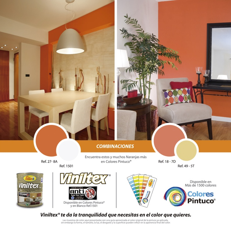 Combinaciones en colores naranja de viniltex de pintuco for Catalogo de colores para interiores
