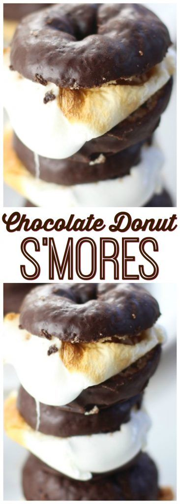 S'mores made with chocolate-glazed donuts! These Chocolate Donut S'mores are so simple, but so unforgettably awesome.