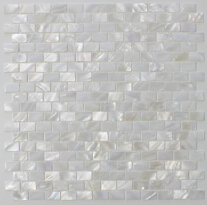 ($6.99)  Mother of Pearl Oyster White Small Subway Mosaic Tiles - Rocky Point Tile - Glass and Mosaic Tile Store