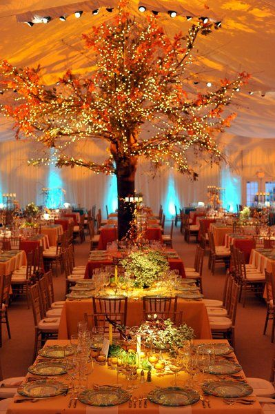 Fall colored wedding under a beautiful Tent #weddings #venues