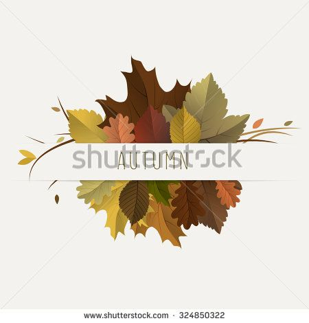 Vector fall, autumn badges, decoration, frame with colorful leaves on light background - stock vector