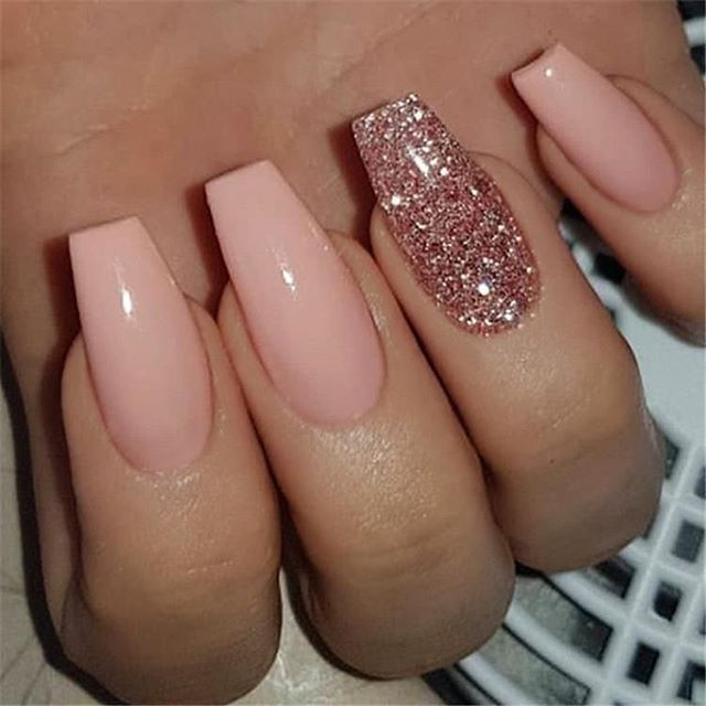 Simply Gorgeous Neutral And Glitter Nails Coffin Nails Designs