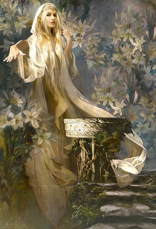 Lady diviner | Female elf by a scrying pool | White lady illustration | Female character inspiration, fantasy book prompt | Tolkienesque character concept