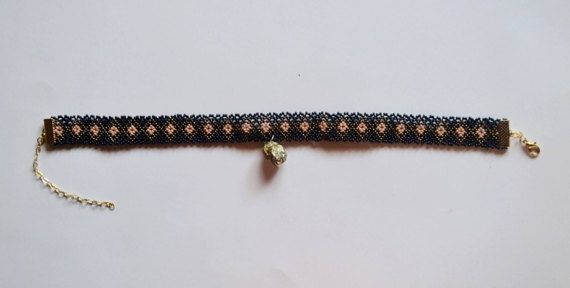 Choker necklace with gold huichol sheet gold pyrite