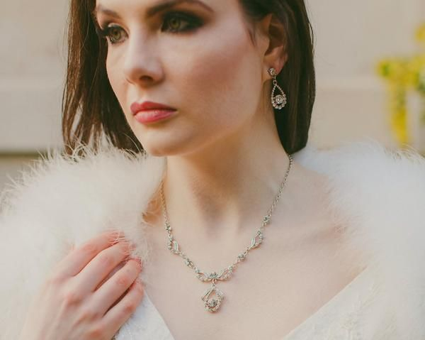 Wedding Necklace - Swarovski Crystal Necklace & Earrings Set, Blanche