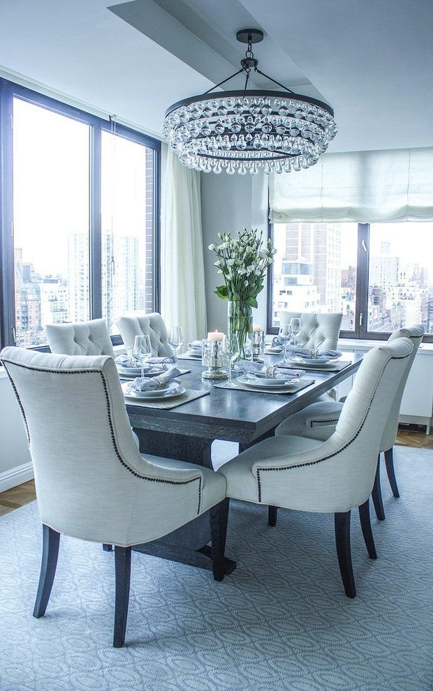 Transitional Dining Chair Room With New York City View Wood Table