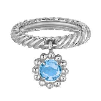 Blå Topasring i Silver med Blommönster