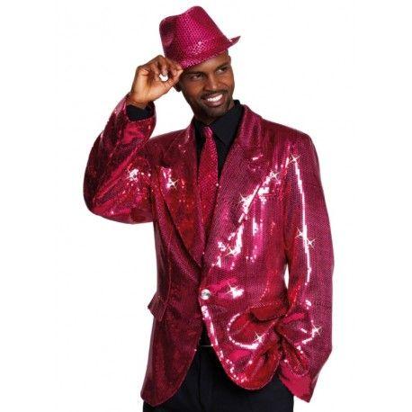 Déguisement veste disco fuchsia à paillettes homme
