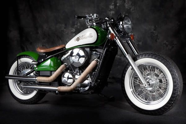 Green and White Kawasaki Vulcan 800