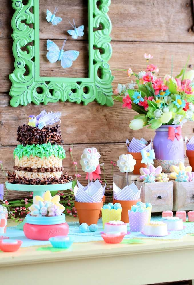 Amazing Spring garden birthday party! See more party ideas at CatchMyParty.com!