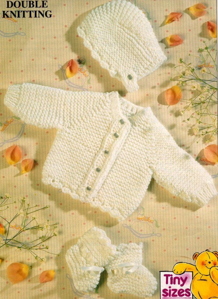 cffdf76a96f8 PDF Knitting Pattern Easy Garter Stitch Baby Jacket Bonnet Bootees ...