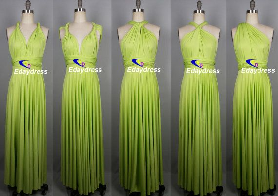 Maxi Full Length Bridesmaid Infinity Convertible Wrap Dress Apple Green Lime Green Multiway Long Dresses Party Evening Any Occasion Dresses