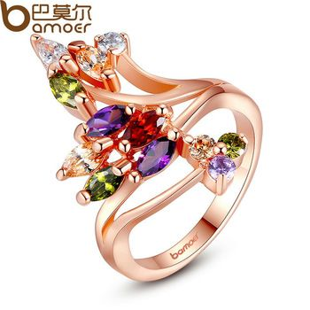 BAMOER High Quality  Gold Plated Finger Ring for Women Party with AAA Colorful Cubic Zircon Famous Brand Jewelry JIR048