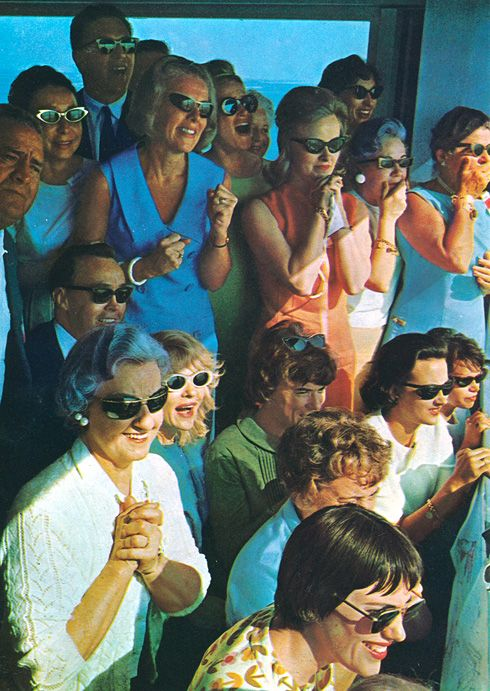 Astronaut wives watch in tremendous anticipation as the first Gemini lifts off with its two man crew  -1965
