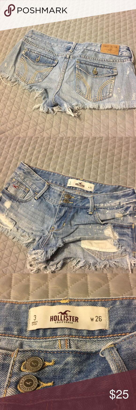 Hollister Fringe Blue Jean Shorts | Juniors Hollister Brand / Size 3 Juniors / Cutoff Look / Fringe ends / Bleach Spot Look / Light Wash / 26 in. waist / Hollister Shorts Jean Shorts