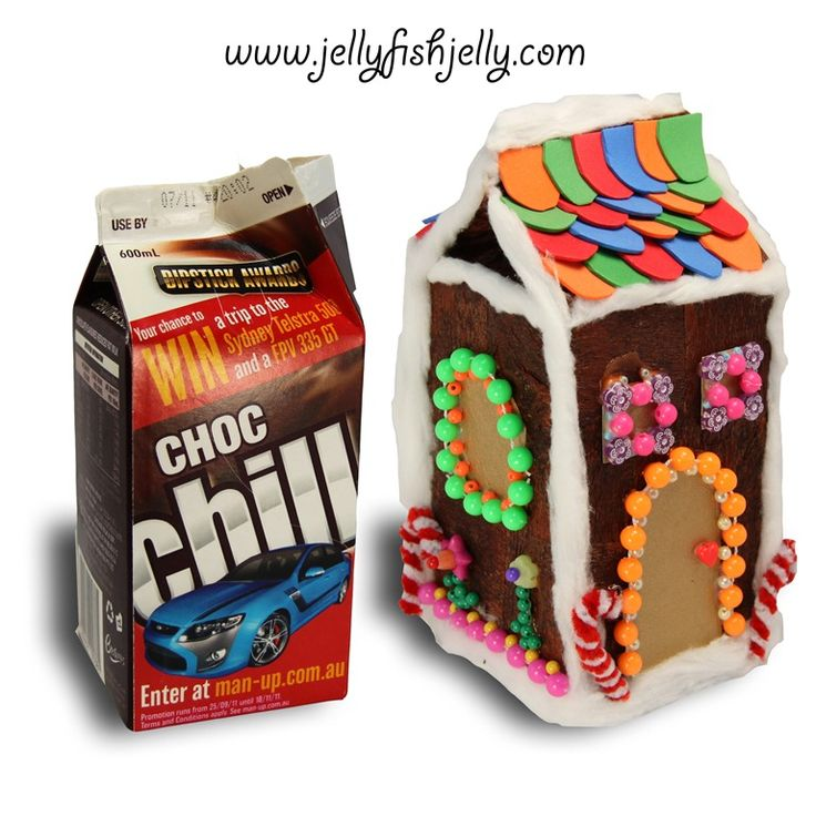 Gingerbread House Money Box for a child's bank! Made out of a small milk carton...