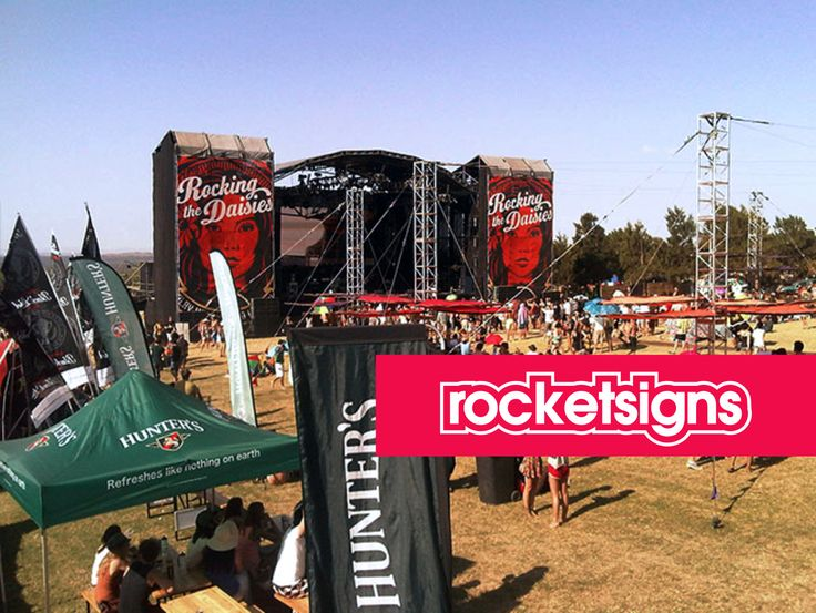 Speaker tower wraps printed for Rocking the daisies www.rocketsigns.co.za