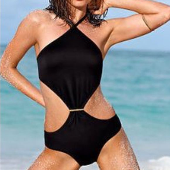 Black Victoria's Secret monokini swimsuit bikini Worn once this sexy black monokini from Victoria's Secret. Victoria's Secret Swim One Pieces