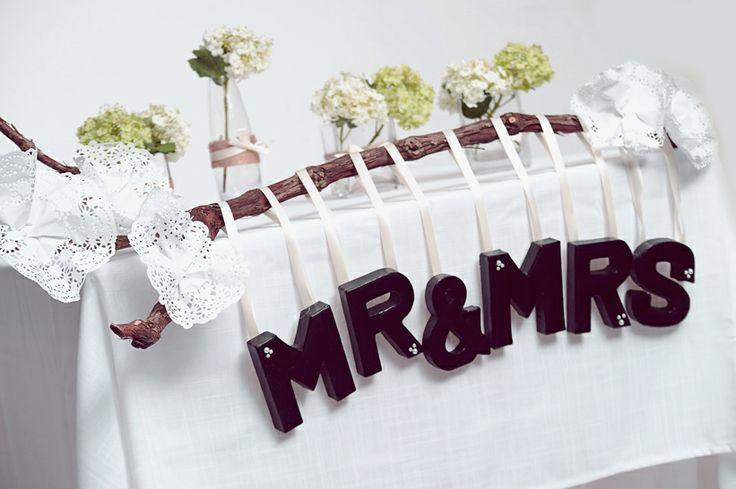 DIY Wedding Ideas; Mr & Mrs sign made using our mini paper mache letters www.countrybaskets.co.uk