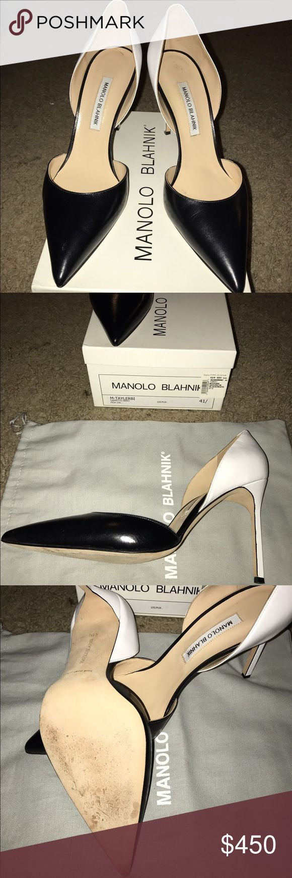 Manolo Blahnik Black and White Pumps Size 41 Black and White d'Orsay style pumps. Worn once. In excellent used condition. Fits like a size 10. Manolo Blahnik Shoes Heels