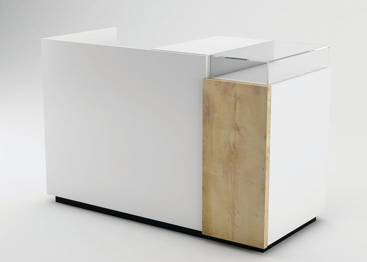 Gloss White Cash Counter (Banco Cassa) With Oak Panel