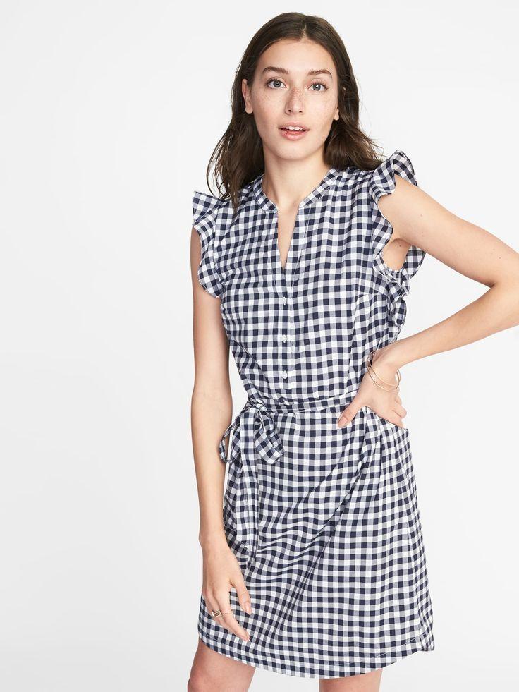 3d82388a7488e7 Sleeveless Ruffle-Trim Tie-Belt Shirt Dress for Women