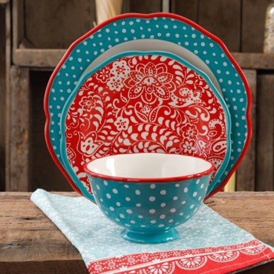 Pioneer Woman Traveling Vines 12 Piece Dinnerware Set Floral Vines & Polka Dots #ThePioneerWoman