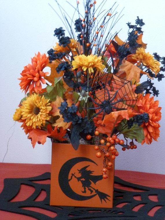 halloween centerpiece silk flowers orange - Halloween Centerpieces Wedding