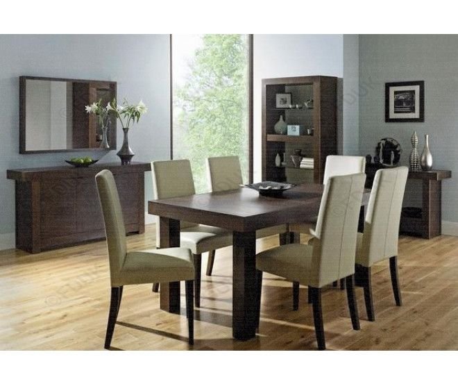 bentley designs akita walnut extension dining table with 8 square back ivory upholstered chairs - Cheap Dining Tables