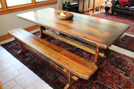 Rustic Trestle Table Reclaimed Barnwood with by ReFabWoodRecyclery, $2000.00