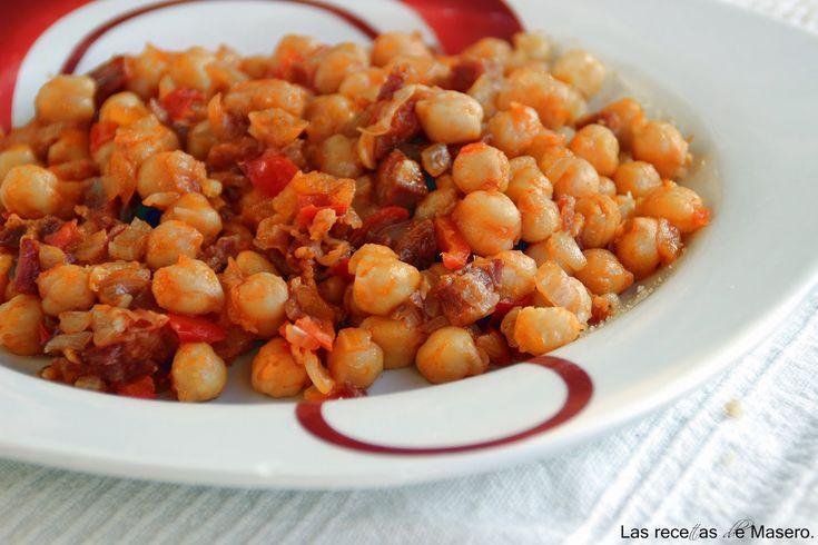 Las recetas de Masero.: Garbanzos con chorizo y jamón
